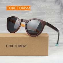 Toketorism wooden sunglasses men polarized women retro round glasses 5398