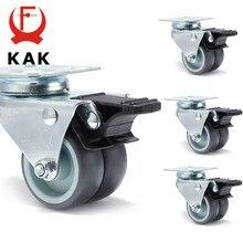4 Uds KAK giratoria rueda Mute rueda de 2 pulgadas 60KG de goma suave seguro rodillo muebles ruedas Carro de comedor mesa de comedor