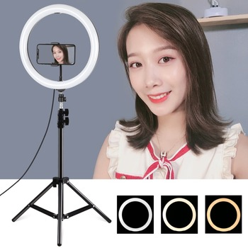 LANBEIKA 11.8 inch LED Selfie Ring Light & 1.1m Light Stand &Cell Phone Holder For Photo Studio YouTube Vlogging Video Shooting
