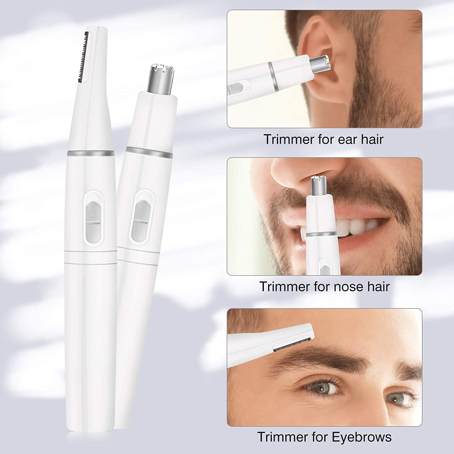 2 In 1 Nose Hair Trimmer For Men Professional Painless Eyebrow Trimmer Electric Facial Hair Removal Razor For Women Makeup Tool