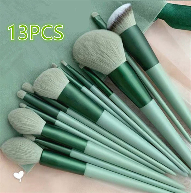 8/13PCS Makeup Brushes Pro Green Brush Set Powder Eyeshadow Blending Eyeliner Eyelash Eyebrow Make Up Beauty Cosmestic Brushes 1