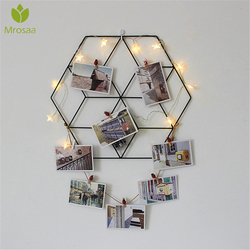 Newest Nordic Style Metal Iron Mesh Grid Wall Photos Pictures Postcard Frame Storage Rack Home Bedroom DIY Decor Storage Shelf