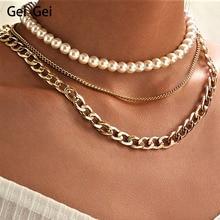 Simple Faux Pearl Rhinestone Pendant Necklace Women's Vintage Multi-layer Tassel Pearl Wedding Necklace Chain Choker Pendant stylish faux pearl bow flower lace choker necklace