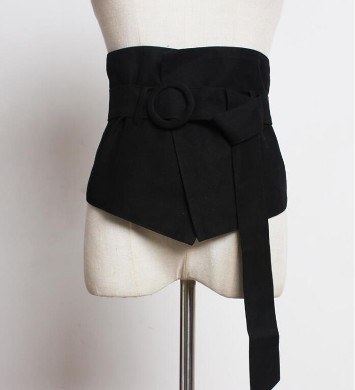 Women's Runway Fashion Black Cummerbunds Female Dress Coat Corsets Waistband Belts Decoration Wide Belt R1761