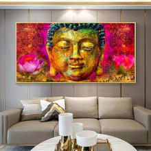 RELIABLI ART Colorful Buddha Canvas Painting Abstract Pictures Wall Art For Living Room Decoration Posters And Prints NO FRAME modern abstract oil painting posters and prints wall art canvas painting colorful rhythm pictures for living room decor no frame