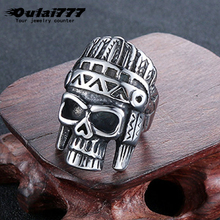 oulai777 men ring stainless steel Viking Pharaoh skull big lord of the rings for gothic black Punk fashion jewelry 2109