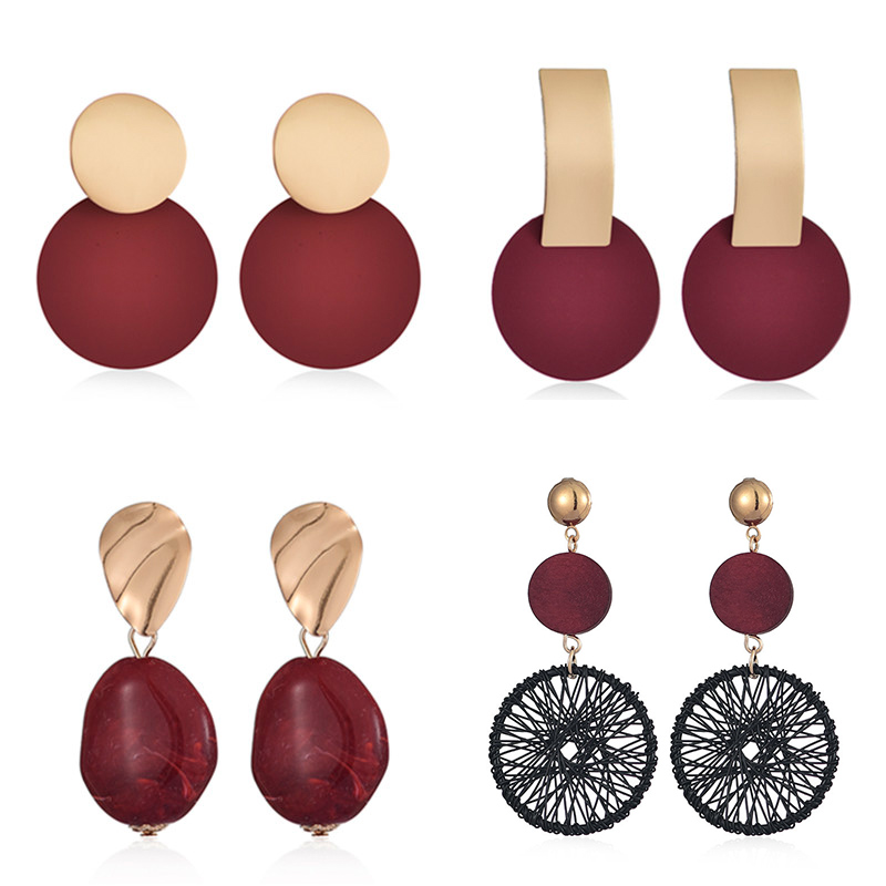 New Statement Drop Earrings For Women Fashion Gold Earrings Acrylic Red Geometric Dangle Earring Wedding Earring Jewelry