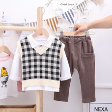 2019 Autumn Fashion Boy Clothes New Shirt Trousers Sweater Plaid Vest Jackets Three-piece Suit Children Clothing Warm цены онлайн