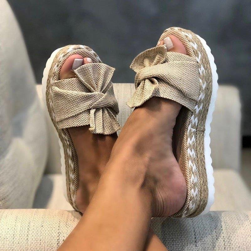 Women Slippers Summer 2020 Platform Wedges Mid Heels Bow Tie Peep Toe Fashion Slides Beach Outdoor Ladies Shoes Zapatos De Mujer