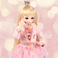 60CM 1/3 BJD Doll Princess Girls Dolls SD 18 Ball Jointed With Full Outfits Pink Clothes Wig Shoes Makeup Children Love Toys