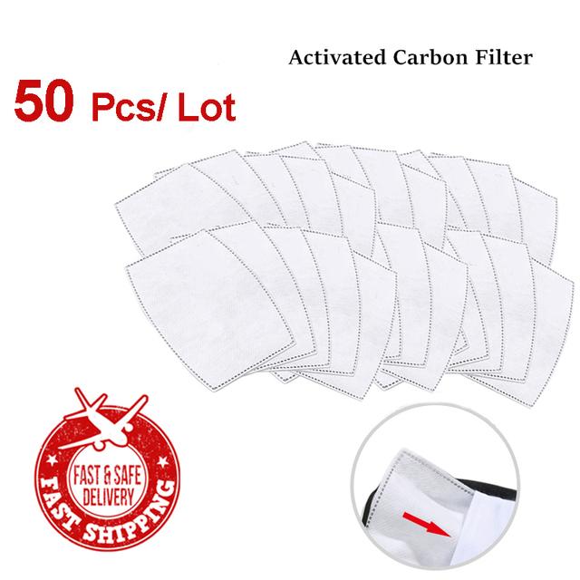 50pcs/Lot Mask Filter for Adult/Children Windproof Mouth Mask Activated Carbon Filter Warm Mask 95% Filter-slice Health Care