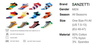 Image 5 - SANZETTI 12 Pairs/Lot Mens Casual Summer Ankle Socks Colorful Happy Funny Combed Cotton Short Socks Wedding Party Dress Socks