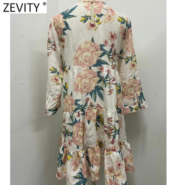 Elegant Flower Printing Pleated Ruffles Mini Dress Three Quarter Sleeve Kimono style 2