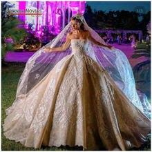Кружевное Свадебное платье без бретелек цвета шампанского, бальное платье