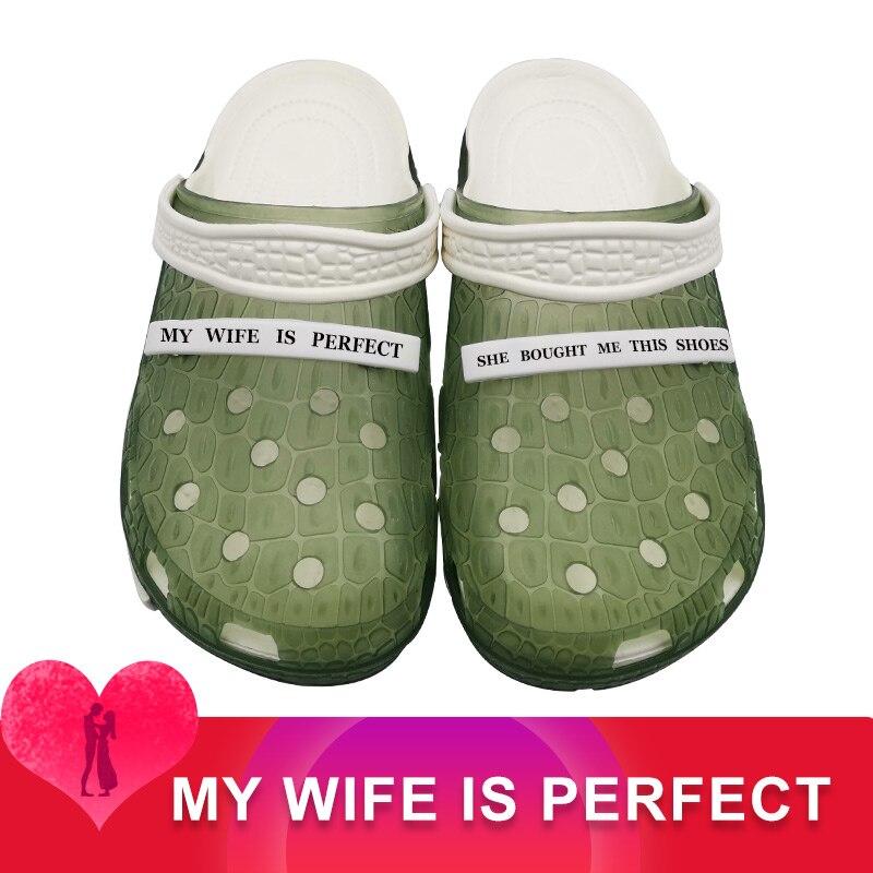 MY WIFE IS PERFECT Clogs Mmassage Zapatos De Hombre Football Shoes Male Men Soft Casual Sandalias Croks Spor Ayakkabi Erkek Kapc
