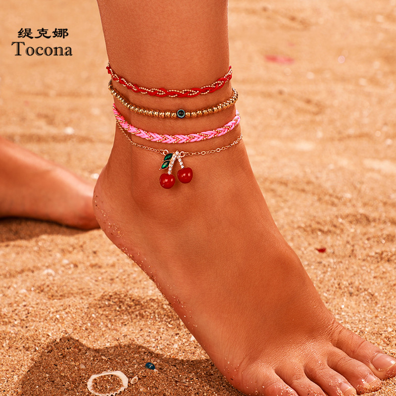 Tocona Boho 4pcs/sets Gold Bead Foot Chain Lovely Cherry Colorful Rope Barefoot sandals Anklets for Women Jewelry Gift 9000