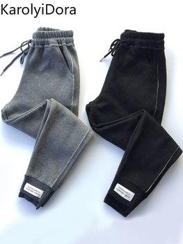 цена на S-XXXL 2019 winter new European goods tide net red Harlan casual pants BF beam pants large size plus velvet sports pants women