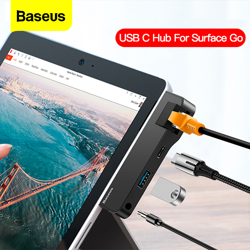 Baseus USB C HUB to HDMI USB 3.0 RJ45 Type C HUB For Surface Go Ethernet USB-C Type-C Multi USB HUB Adapter For MacBook Pro Air