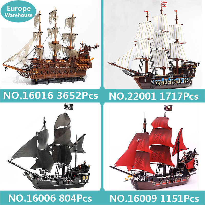 Lepinblocks 16016 Flying Dutchman Imperiale di Punta Building Blocks Set Pirati Nave Dei Caraibi Giocattoli Per Bambini Re Mattoni
