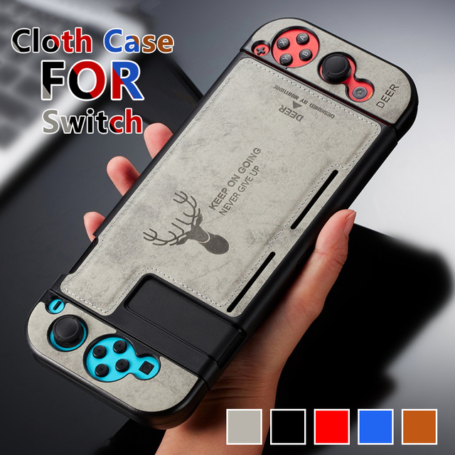 Fabric Cloth Case Silicone Back Protective Joy Con Cover Shell Anti Sweat for Nintend Switch with screen protector