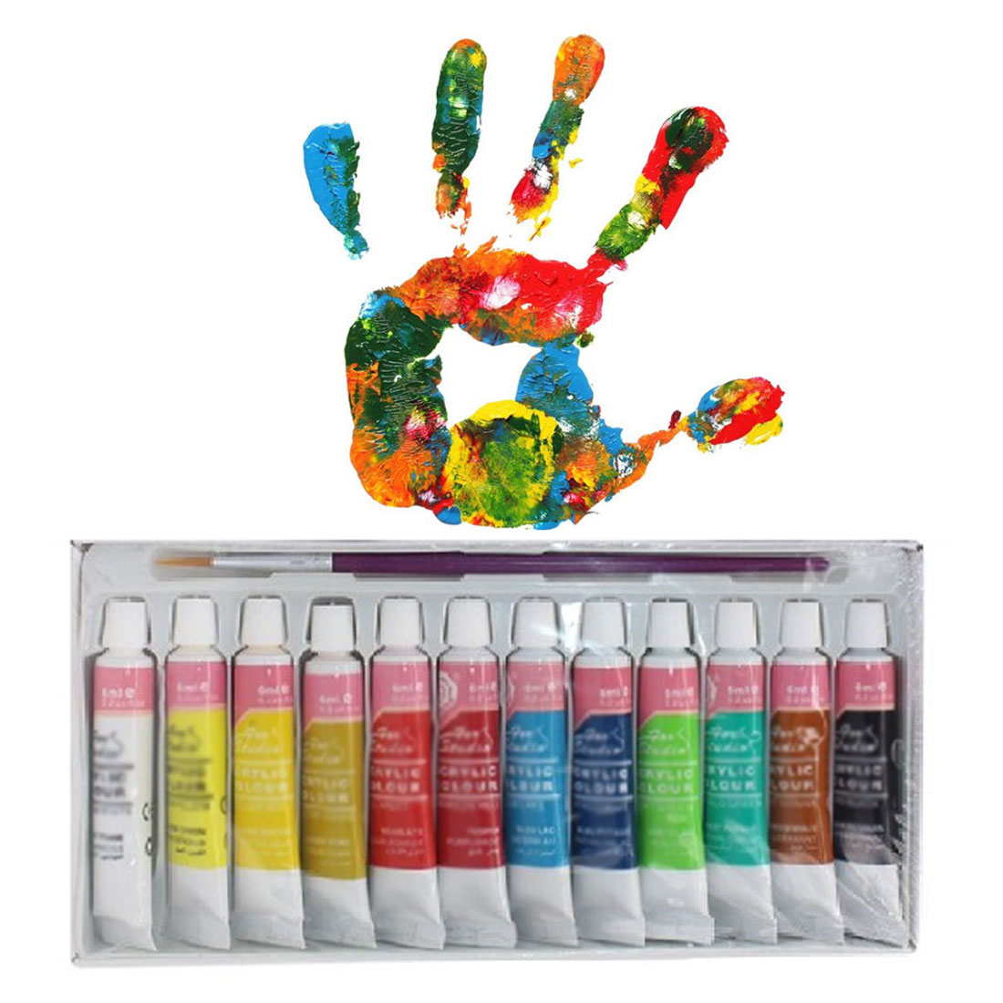 Professional Acrylic Paints For Hand-draw Clothing 12 Colors 6ML Acrylic Pigment Hand Painted For Textile Wall Stone Nail Wood
