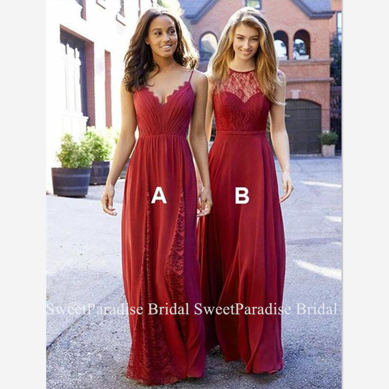 Bohemia Lace Red Bridesmaid Dresses For Women Vestido Madrinha A Line Flowing Long Maid Of Honor Wedding Guest Dress