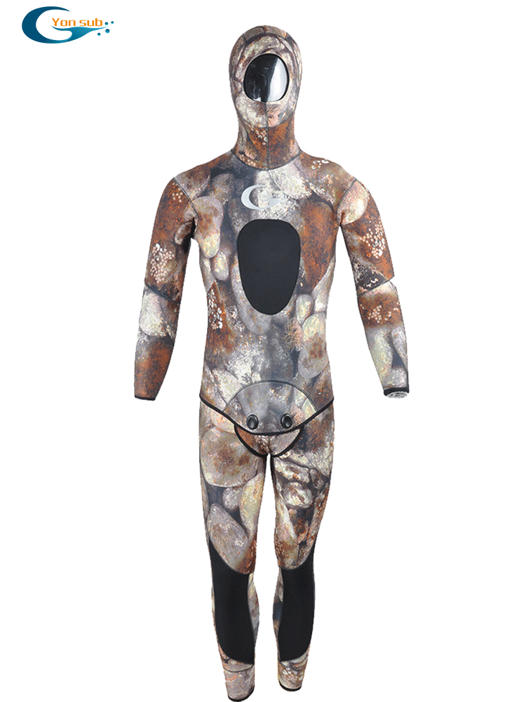 YON SUB 5MM/7MM 2-Piece Neoprene Scuba Wetsuit With Hood Spearfishing And Underwater Hunting Diving Suit For Men Camouflage