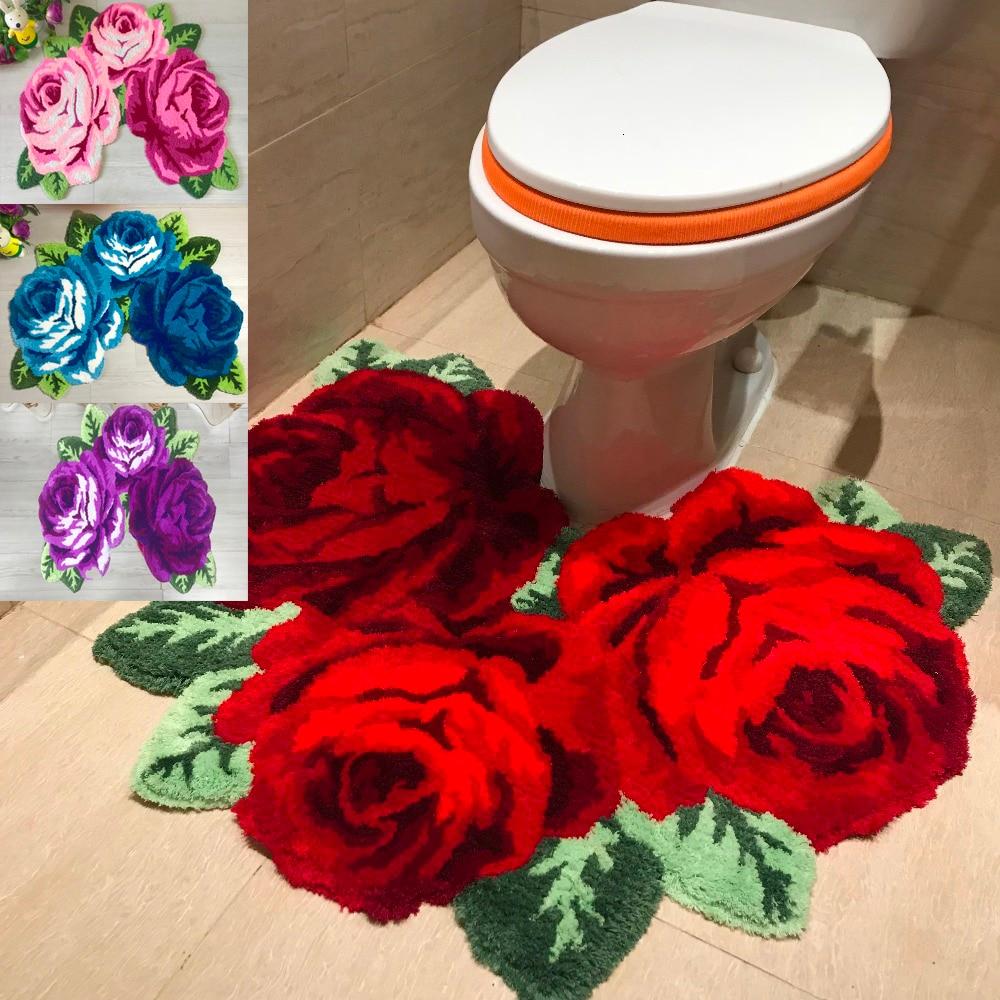 Nova chegada venda quente bonito e macio rosa tapete para banheiro rosa tapete para tamborete para fezes