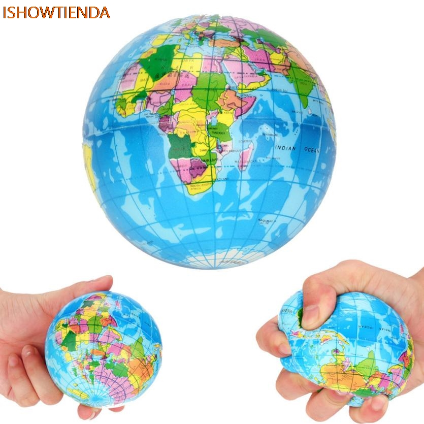 Rubber Stress Relief World Planet Map Foam Ball Atlas Globe Palm Ball Planet Earth Ball  Squishy Squeeze Toy Toys Drop Shipping