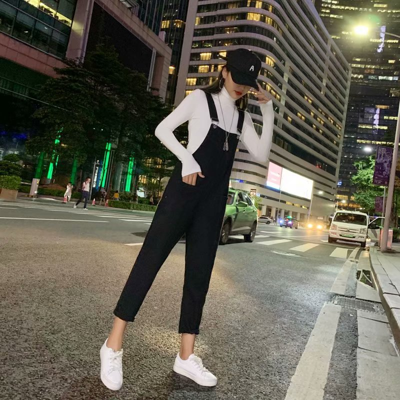 Spring Autumn Jeans 2019 New Fashion Casual High Waist Black Jeans Plus Size Women Loose Cuffs Overalls Pants Plus Size