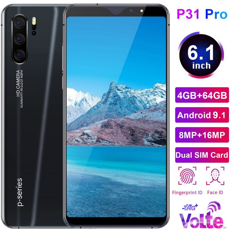 P31 Pro 6.1 Inch 4G Smartphone 4GB RAM 64GB ROM Full Screen Mobile Phone Fingerprint & Face Recognition Unlock Cell Phone