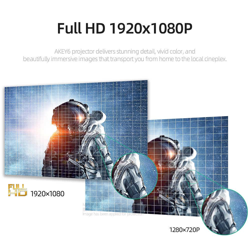 AUN מלא HD מקרן AKEY6/S, 6800 Lumens 1920x1080P, אופציונלי אנדרואיד 6.0 WIFI, LED Beamer עבור 4K בית קולנוע. מתנה חינם!