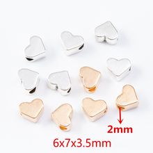 30pcs Gold Color Heart Beads Spacer Beads Loose Beads Charms for DIY Beaded Bracelets Necklaces for Jewelry Making 6x7x3.5mm DIY