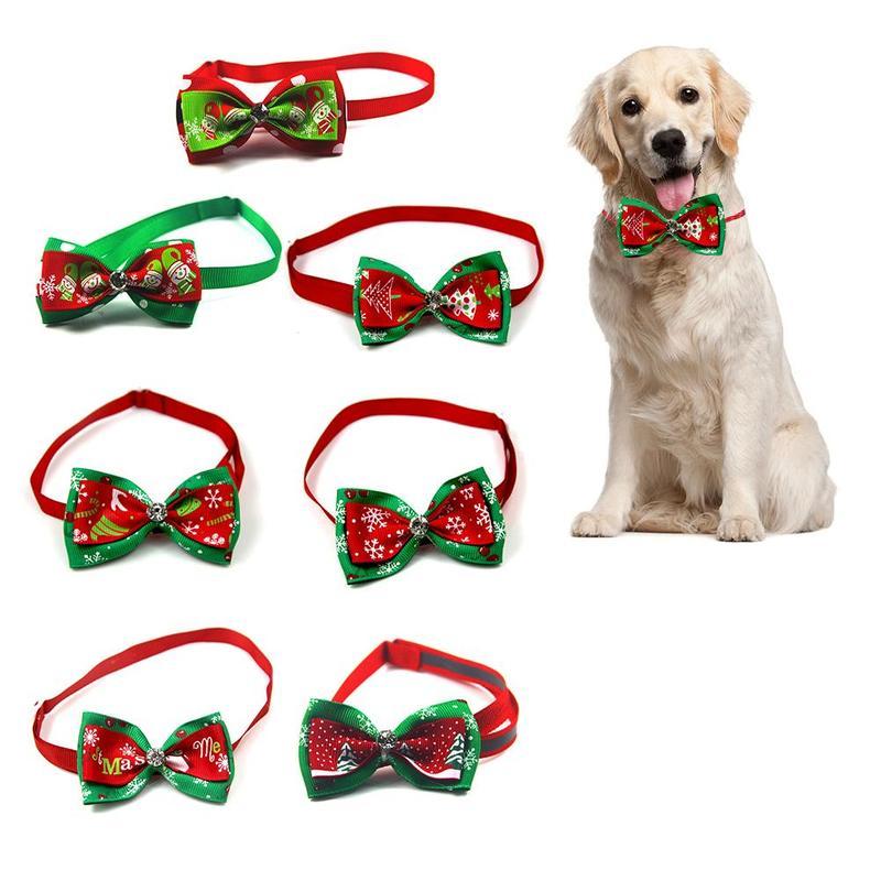 Cute Christmas Pet Dog Cat Puppy Bow Tie Collar Bowtie Adjustable Necktie