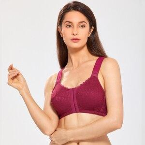 Image 2 - 女性のフルカバレッジx字状姿勢コレクターワイヤレス非が詰めバックサポートレースフロント閉鎖ブラジャープラスサイズdd e f