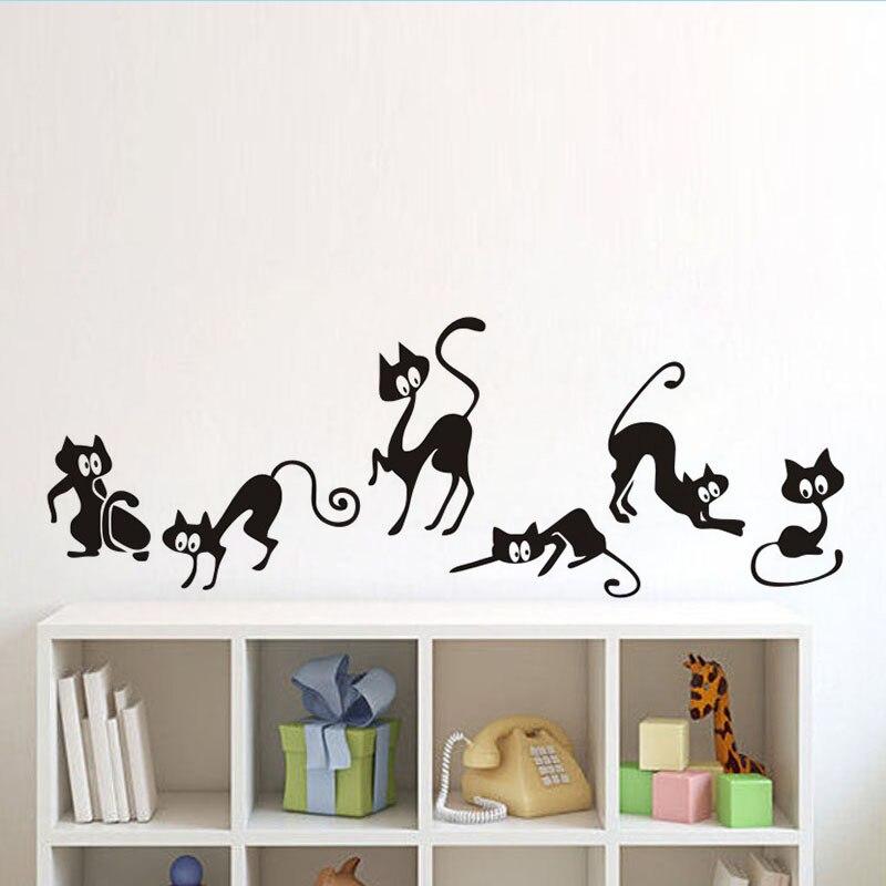 Lovely 6 Black Cute Cats Wall Sticker Moder Cat Wall Stickers Girls Vinyl Home Decor Cute Cat Living Room Children Room