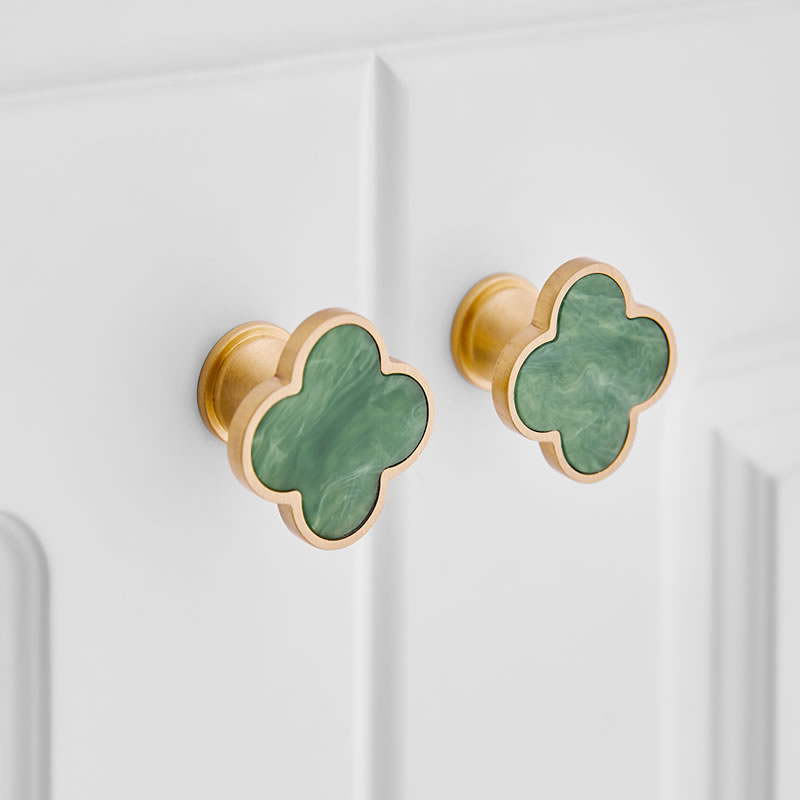 1pc Four Leaf Clover Shape/Green Brass Round Cabinet Door Knobs And Handles Furniture Cupboard Wardrobe Drawer Pull  Pink Handle