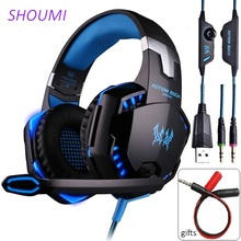 New Headset Over-Ear Wired Game Earphones Gaming Headphones Deep Bass Stereo Casque Xbox PC Laptop Gamer with Microphone For PS4 cheap SHOUMI Over the Ear Orthodynamic CN(Origin) 114dB None Bluetooth 60mW 2 2m for Video Game Common Headphone For Mobile Phone