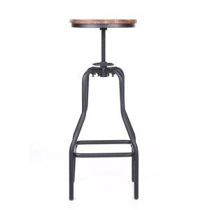 Image 2 - iKayaa Kitchen Furniture Bar Stool Bar Chairs Metal Industrial Stool Height Adjustable Swivel Pinewood Top Pipe Style Barstool