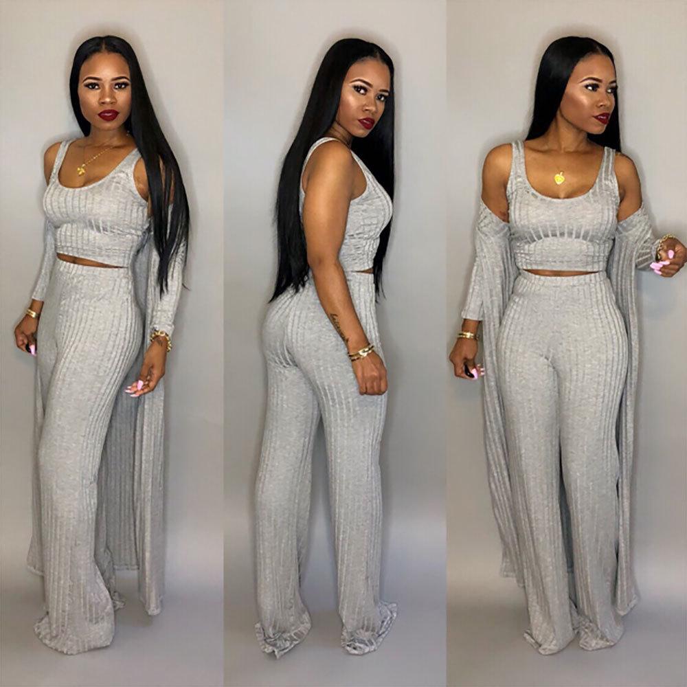 large size 3xl 3 piece set women winter long sleeve three pieces sets for female long coat pants tops women's suits 3 piece set
