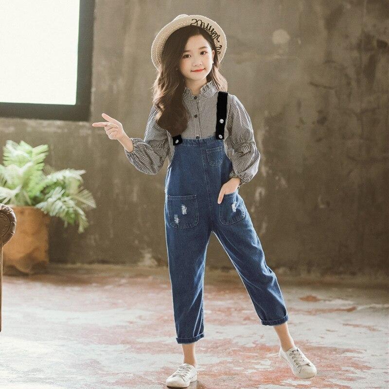 Filles Boutique tenues enfants vêtements printemps automne filles vêtements ensembles à manches longues Plaid T-shirts + Cowboy sangles pantalons costumes - 4