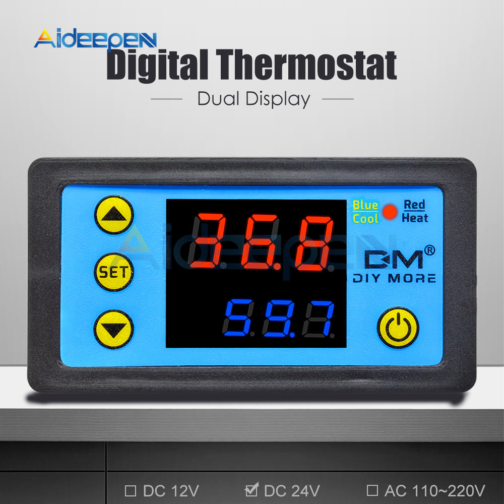 H1ff4aa35b78f48dca8a67c735505f9b6g W3230 AC 110V-220V DC12V 24V Digital Thermostat Temperature Controller Regulator Heating Cooling Control Instruments LED Display