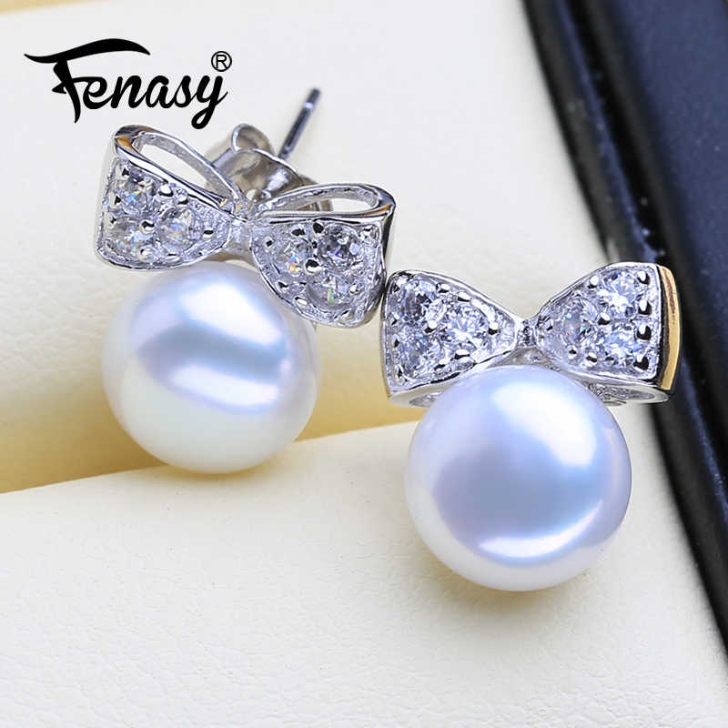 FENASY Natural Pearl Earrings For Women Special Design 925 Sterling Silver fashion Party Bow-knot Stud Earrings