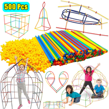 Toys Blocks Construction Children Straw for Gifts Inserted Assembling Stitching Tunnel-Shaped