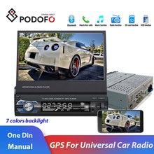 """Podofo 7 """"chowany Autoradio GPS Bluetooth radio samochodowe z nawigacją odtwarzacz MP5 audio stereo 1DIN uniwersalne akcesoria samochodowe FM"""