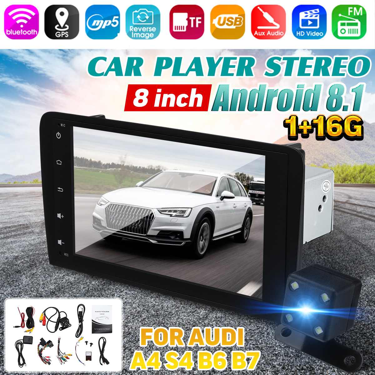 8'' Android 8.1 Car <font><b>Multimedia</b></font> Player GPS Stereo Radio Player WIFI bluetooth Rear View Camera 16G GPS FM for <font><b>Audi</b></font> <font><b>A4</b></font> S4 <font><b>B6</b></font> B7 image