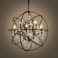 Retro Clear Crystal Chandelier Rustic Iron Globe Suspension Hanging Lamp Loft Industrial For Living Room Lamps