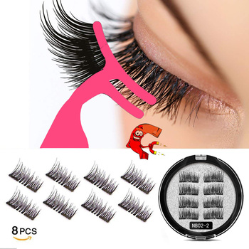 MB New 8Pcs Magnet Mink Lashes 100% Magnetic Eyelashes Natural Hair False Eye lashes 3D Fake Lash Fluffy Faux Cils magnetique недорого