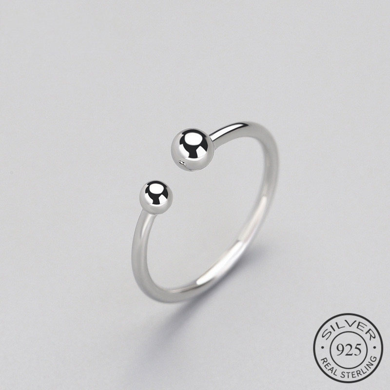Trendy Minimalist Beads Adjustable Ring Real 925 Sterling Silver Fine Jewelry For Women Party Accessories Bijoux Gift