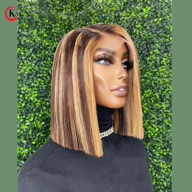 KUNGANG Highlight 4*4 lace closure wig Bob Human Hair Wigs Brazilian Front Wigs 150% Density With Baby Hair Non-Remy 4